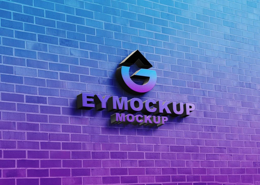 Freebies 3D Wall Logo Mockup
