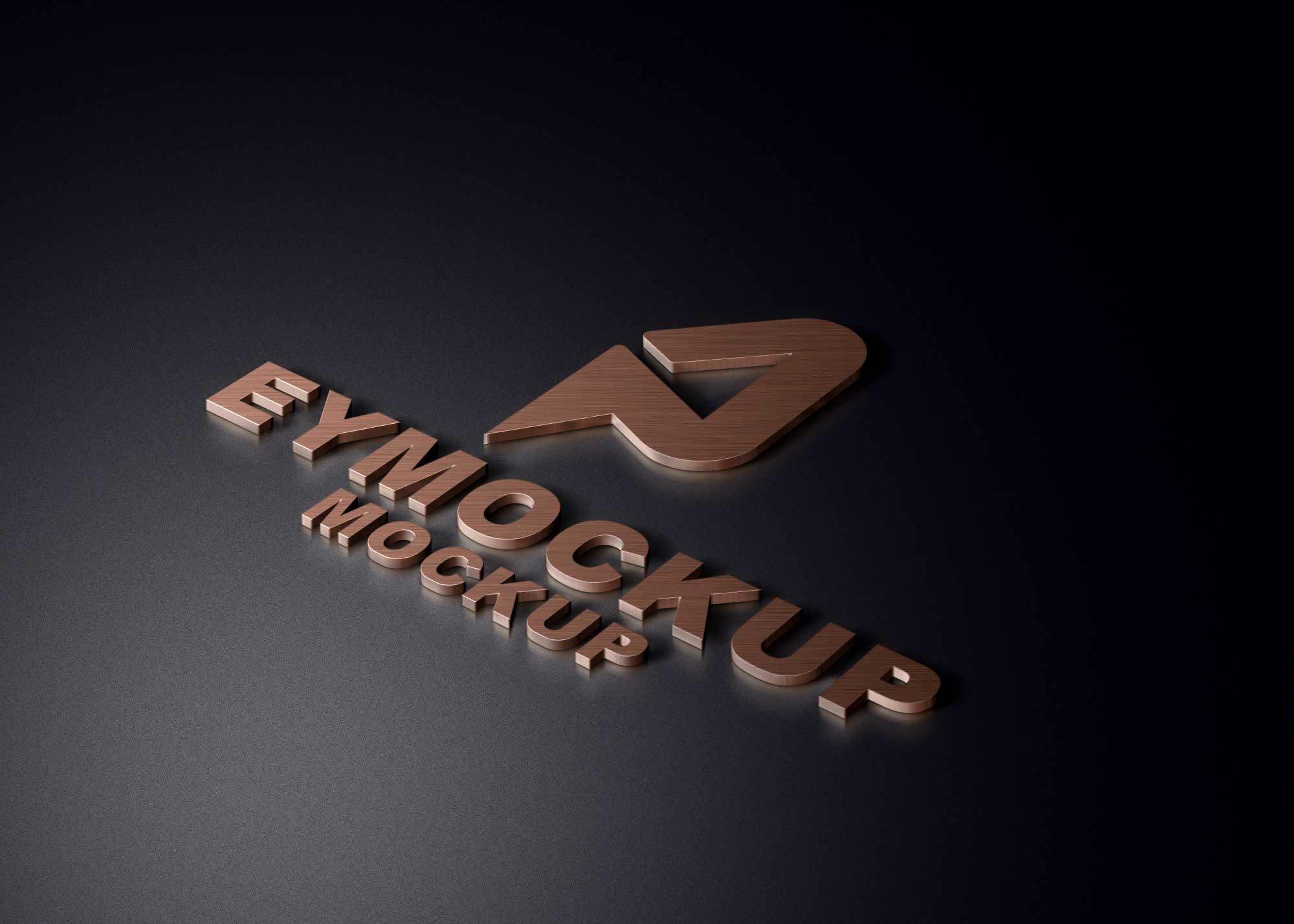 3D Copper Logo Mockup