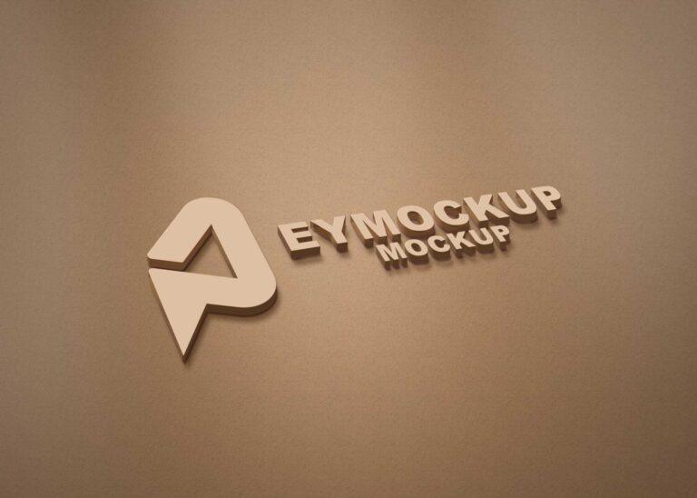 Brown Paper 3D Logo Mockup