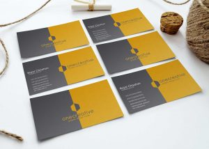 Grid Style Business Card Mockup