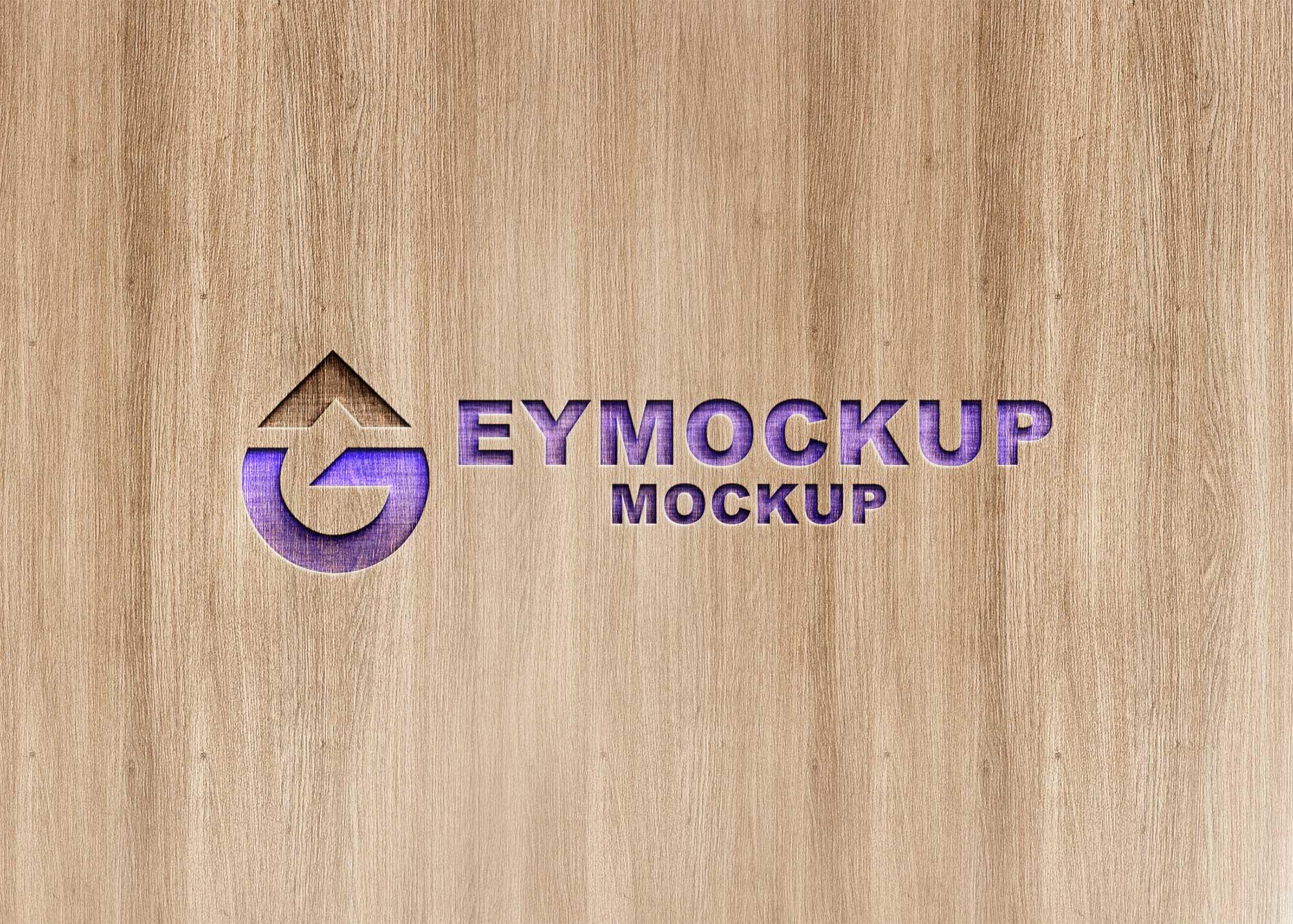 Freebies Wood Cutout Logo Mockup