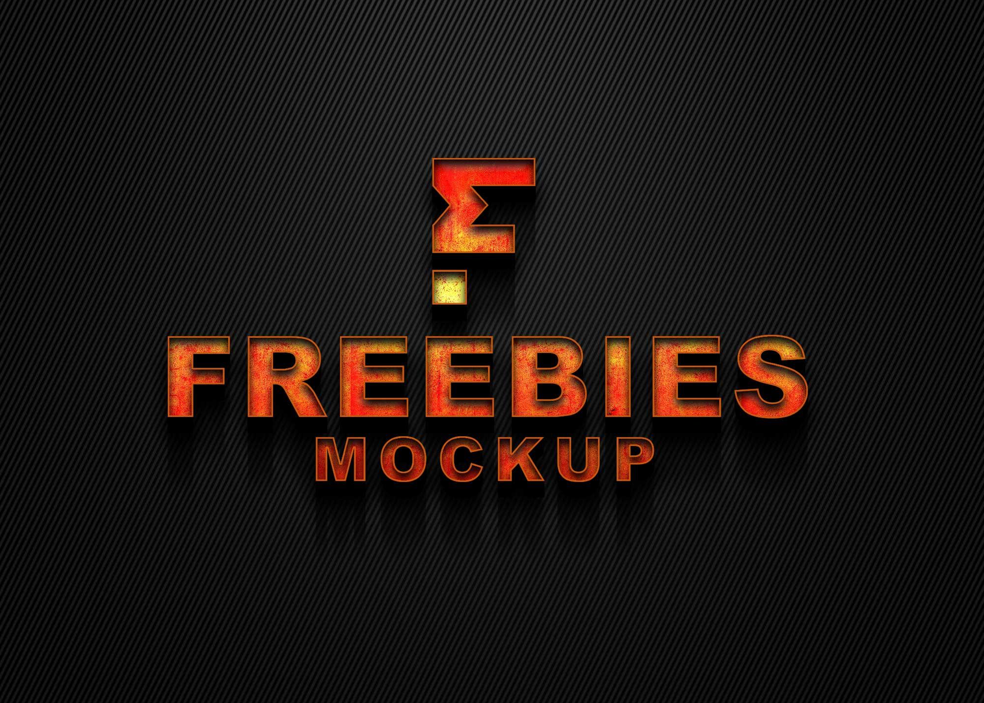 Freebies Fire Realistic Logo Mockup