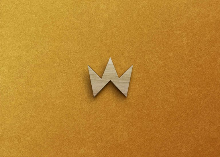 Freebies Gold Wood Logo Mockup