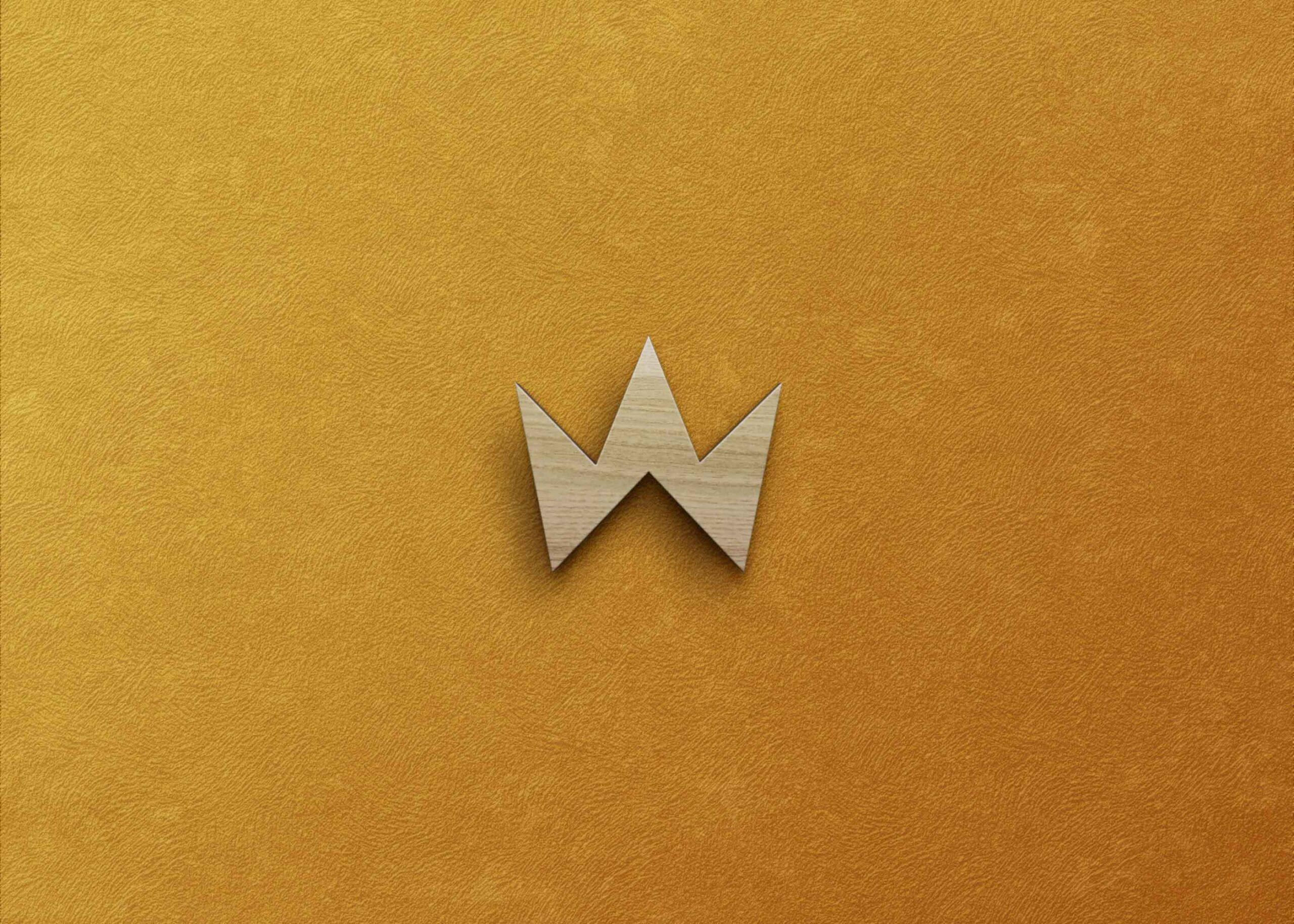 Freebies Gold Wood Logo Mockup