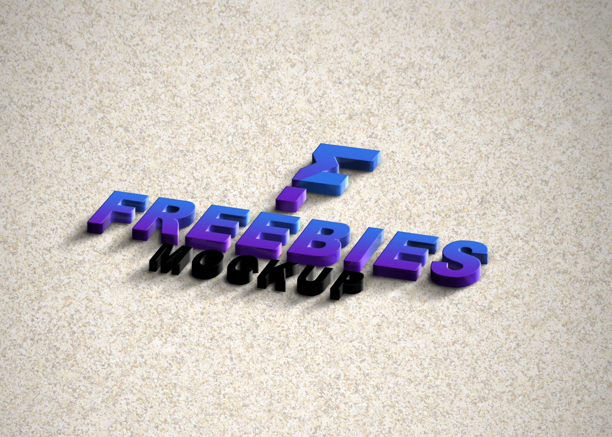 Freebies Plastic 3D Logo Mockup