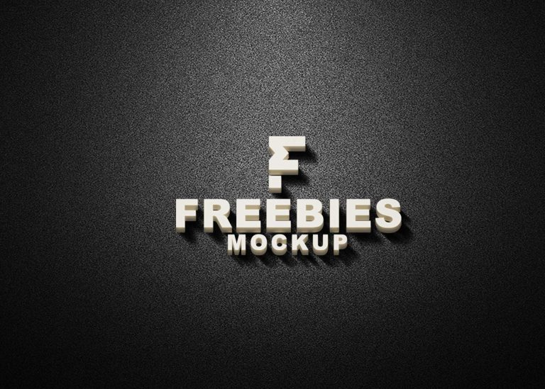 Freebies White 3D Logo Mockup