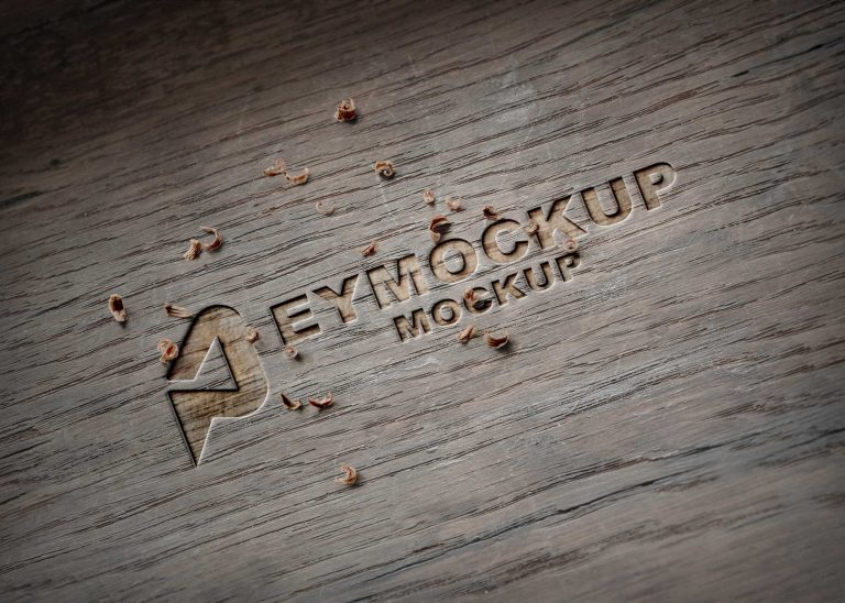 Freebies Wooden Cutter Logo Mockup