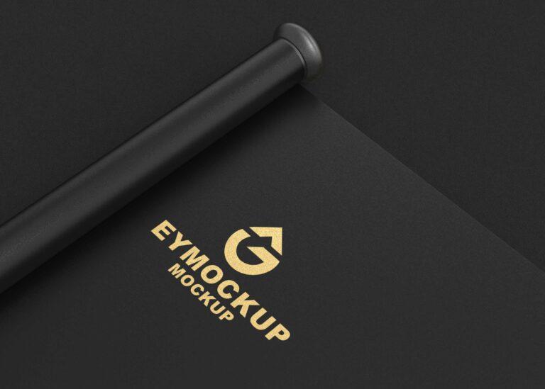 Gold Texture Logo Mockup