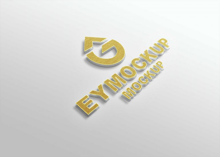 Golden Freebies 3D Logo Mockup