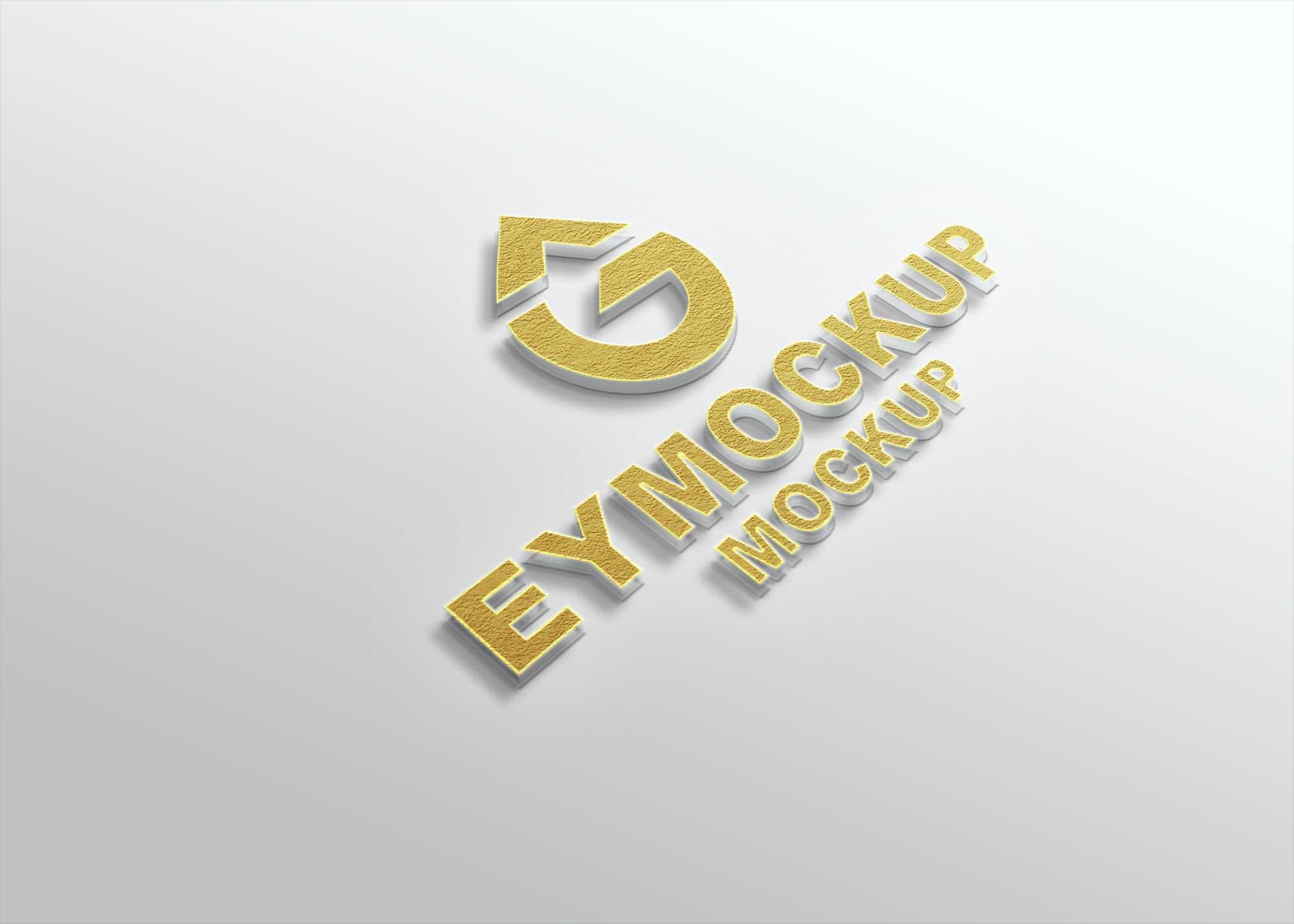 Golden Freebies 3D Logo Mockup