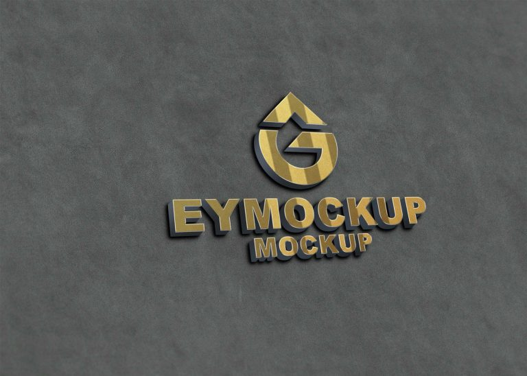 Freebies 3D New Golden Logo Mockup
