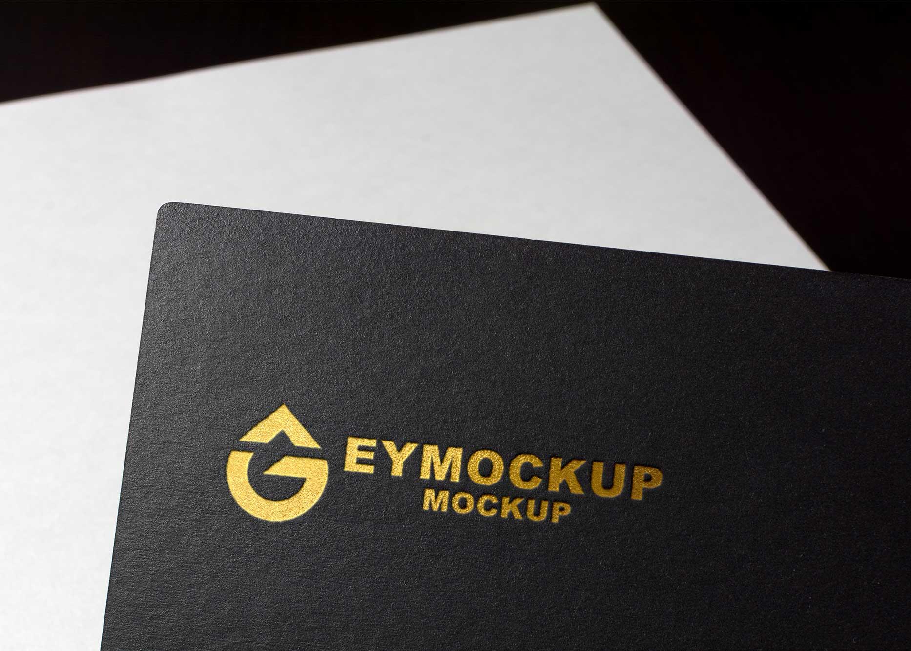 New Paper Luxury Golden Logo Mockup