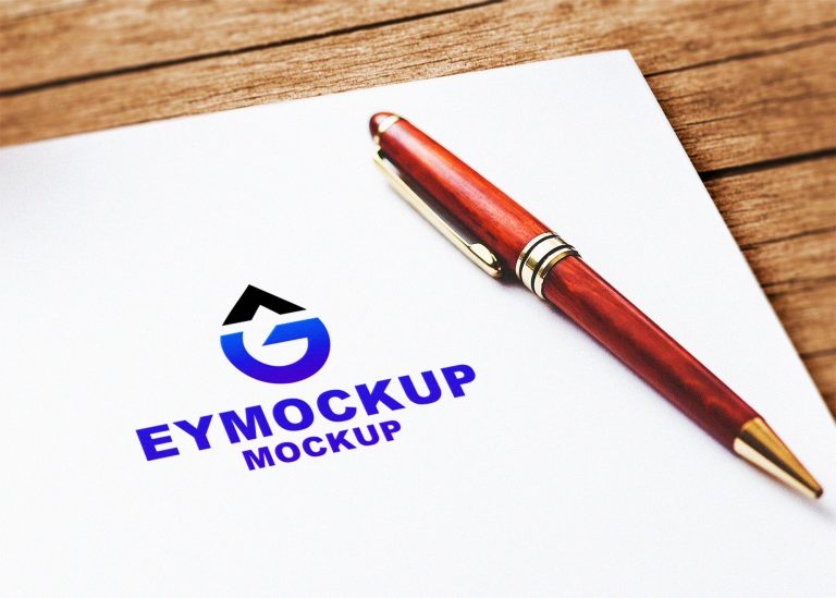 Plain Logo Mockup With Pen