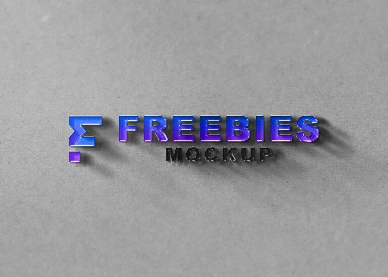 Plastic 3D Freebies Logo Mockup
