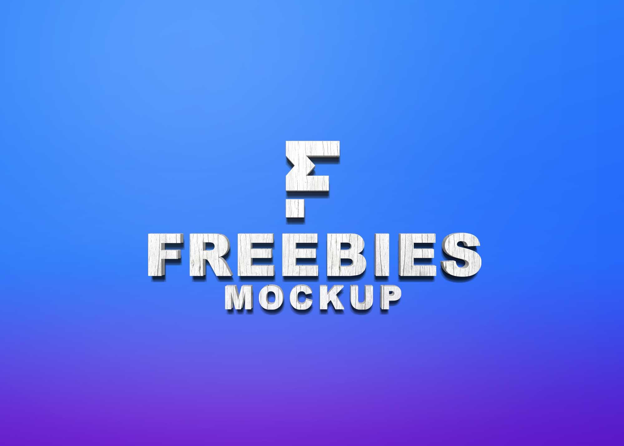 Freebies 3D Premium Logo Mockup