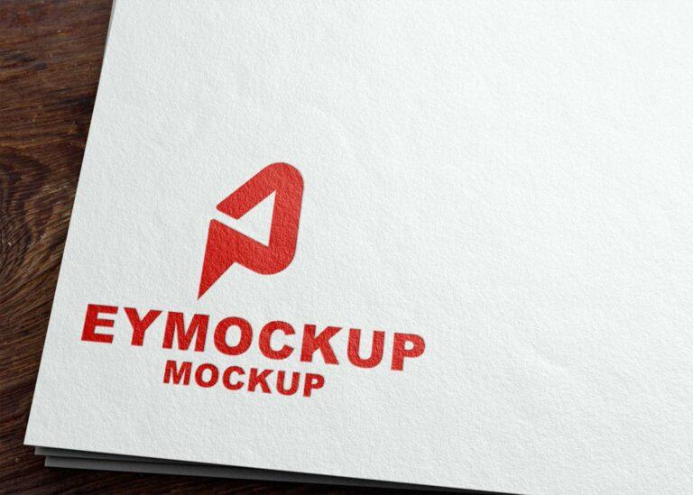 Red Paper Logo Mockup