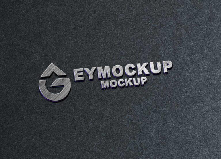 Silver Metal 3D Logo Mockup