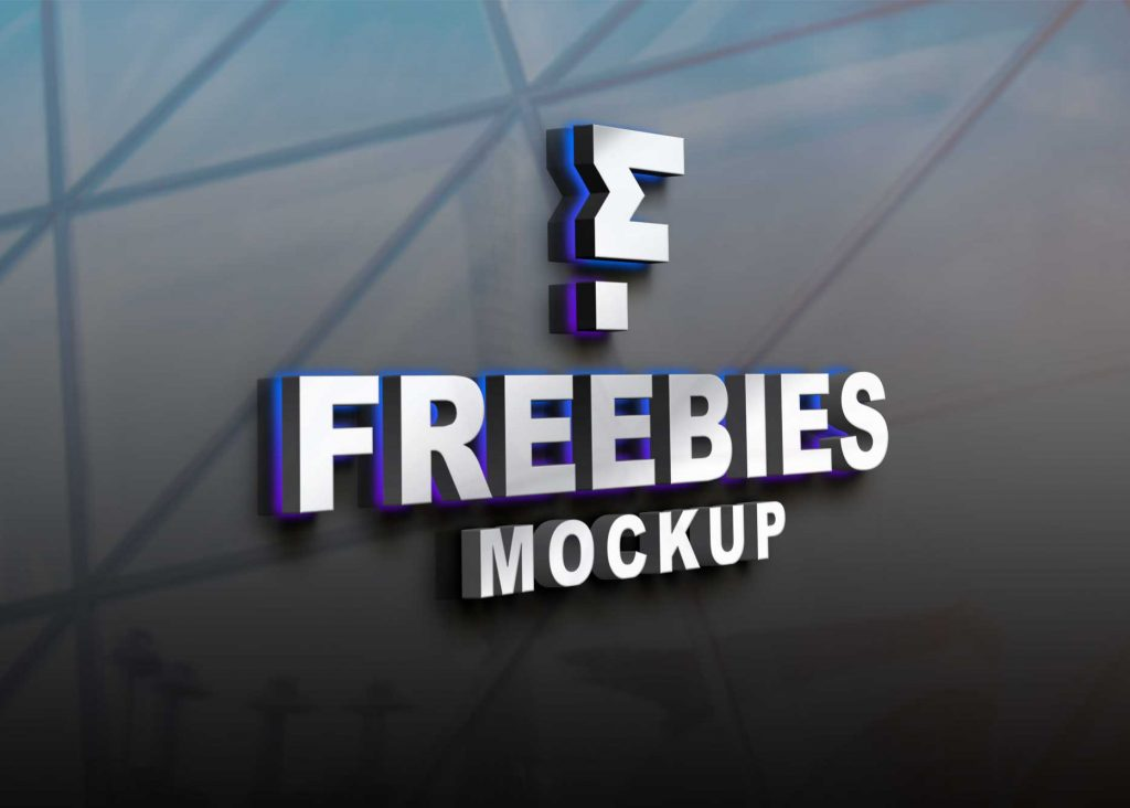 Freebies LED Logo Mockup