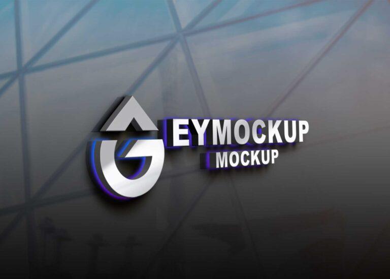 Steel LED Logo Mockup