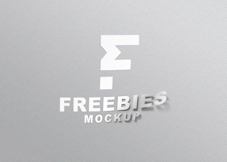 Freebies Thin Sticker Logo Mockup