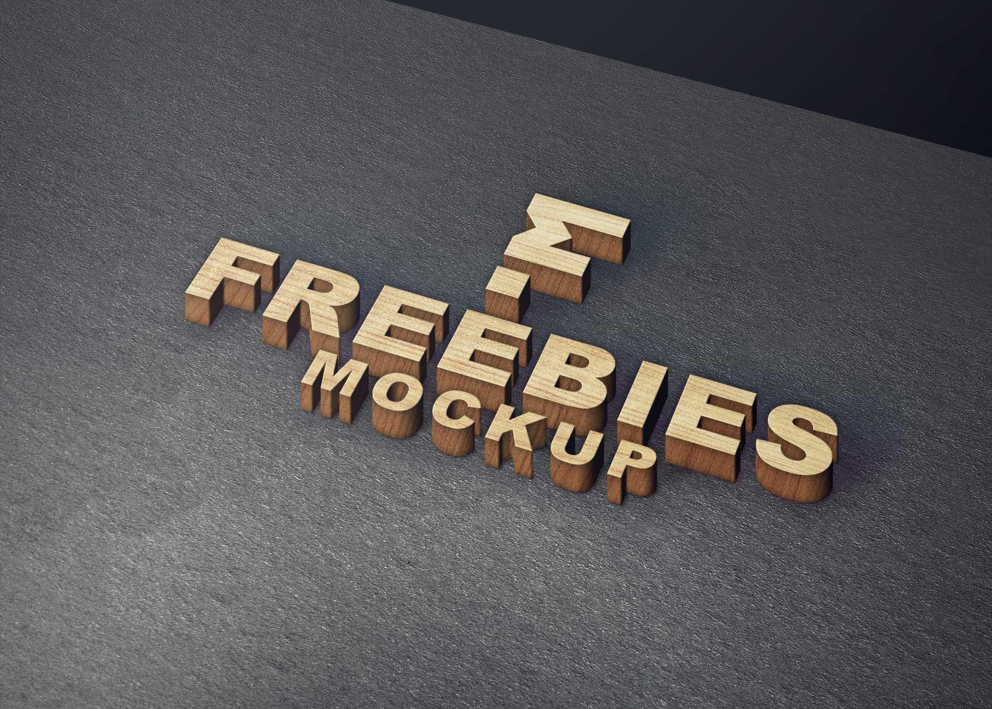 Wood Block Freebies Logo Mockup