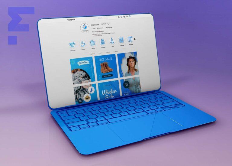 Blue Laptop Instagram Mockup