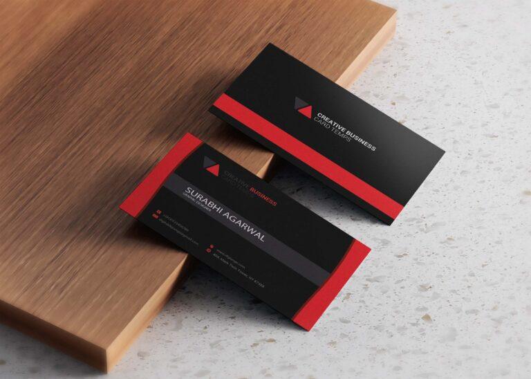 Free Elegant Black & Red Business Card