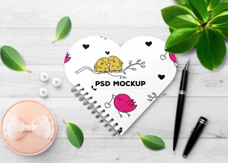 Pretty HeartShape Book Cover Mockup Scene