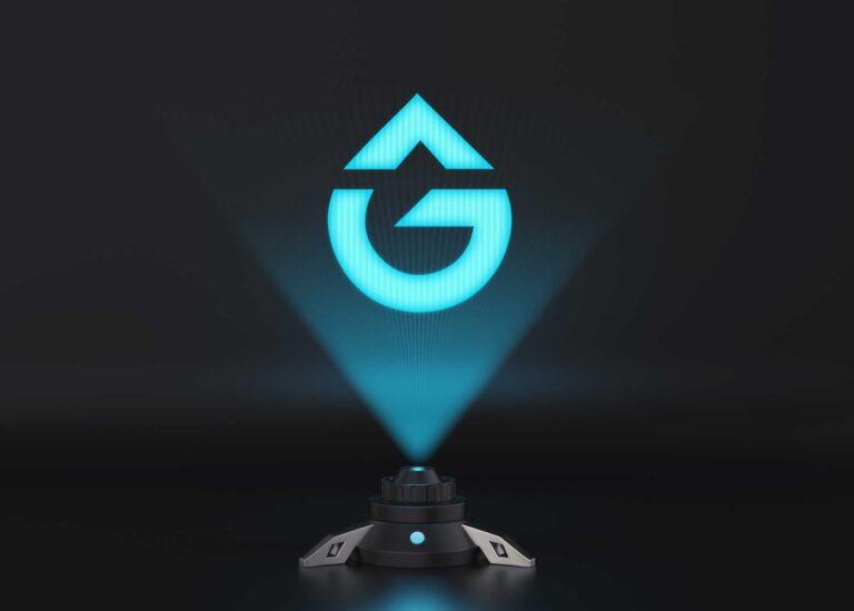 Free Light Hologram Screen Logo Mockup