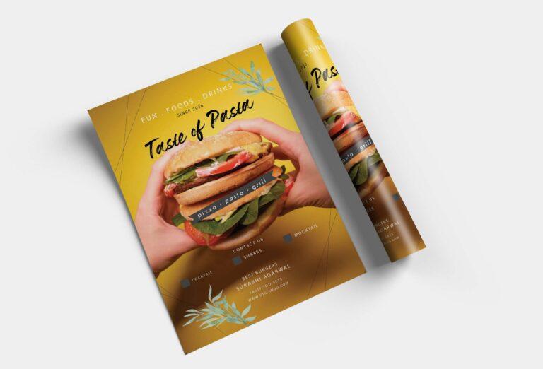 Free Pasta Menu Poster Design Template