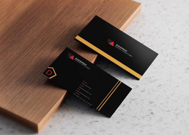 Free Premium Black & Orange Business card Design