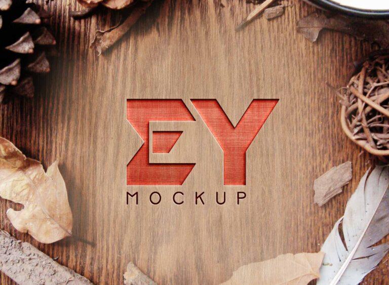 Free Wood Cut Logo Mockup