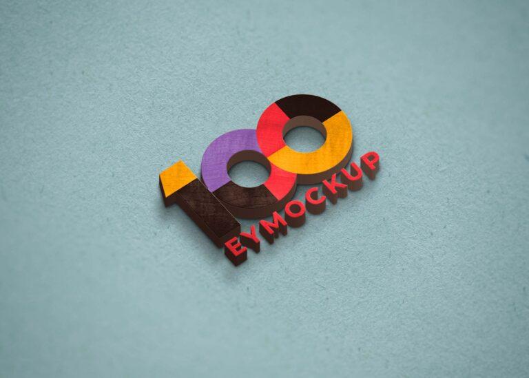 3D Colorful Logo Mockup