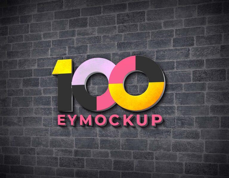 3D Office Wall Logo Mockup