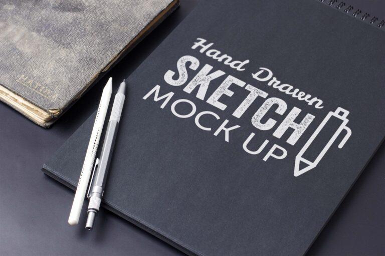 Hand Drawn Sketch Book Mockup