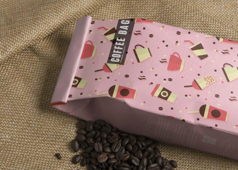 Premium Coffee Bag Label Mockup
