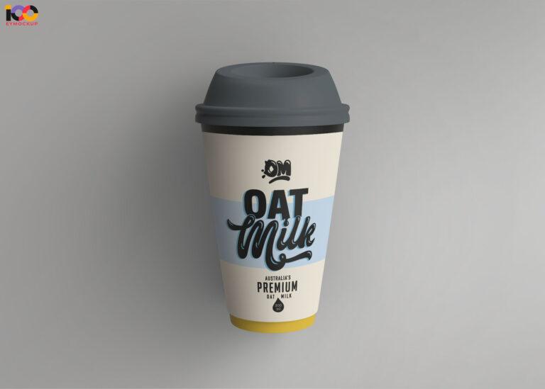 Oat Milk Paper Cup Mockup