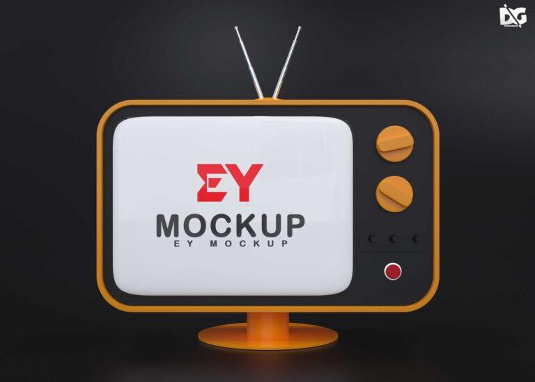 Old Style TV Logo Mockup
