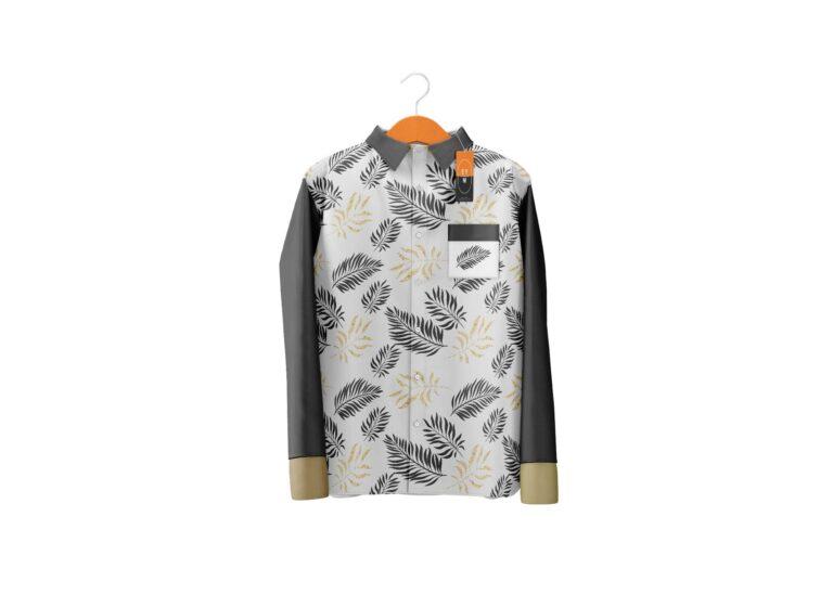 Leaf Print Leather Jacket Mockup