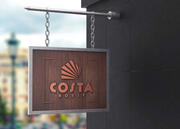 Costa Coffee Hanging Wall Logo Mockup
