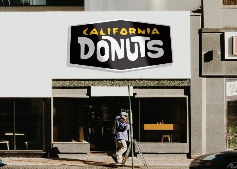 California Donuts Storefront 3D Logo Mockup