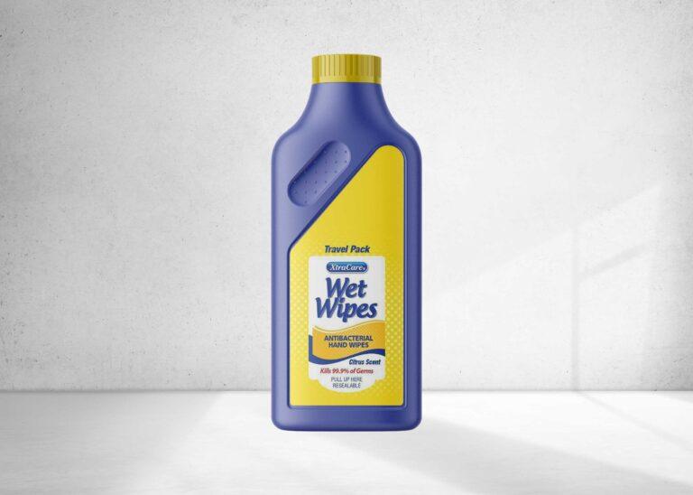 Wet Wipes Detergent Bottle Mockup
