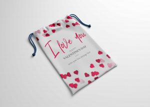 Mini Heart Printed Clothes Pouch Mockup