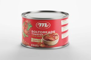 Free Red Tomato Paste Tin Can Label Mockup