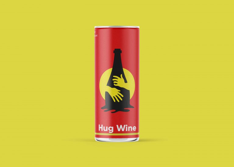 Hug Wine Can Mockup