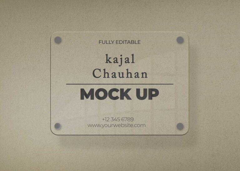 Transparent Home Name Plate Mockup