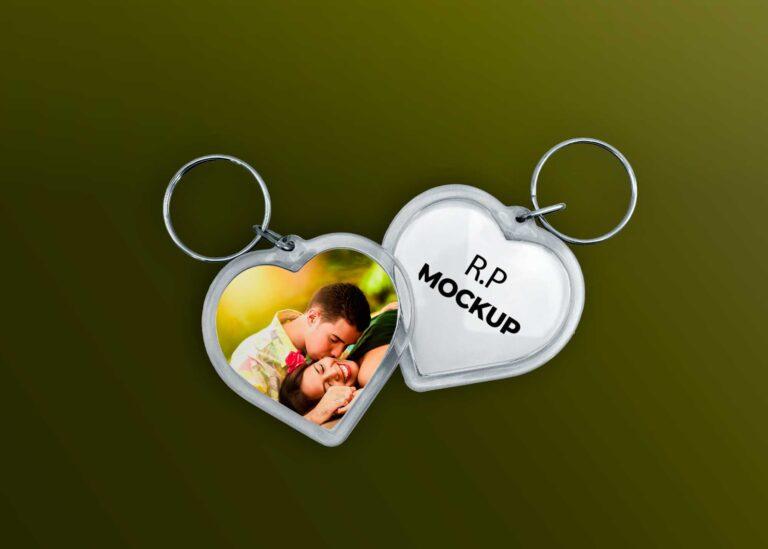 Couple Heart Keychains Mockup