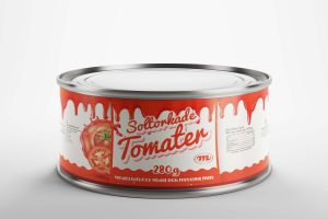 Free Food Round Can Mockup